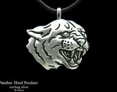 Panther Head Pendant Necklace Sterling Silver Black Panther Pendant