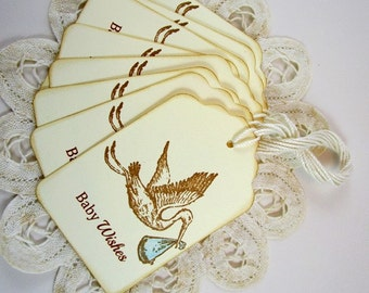 Baby Boy Stork Wish Tags, Boy Baby Wishes Tags, Boy Stork Wish Tags