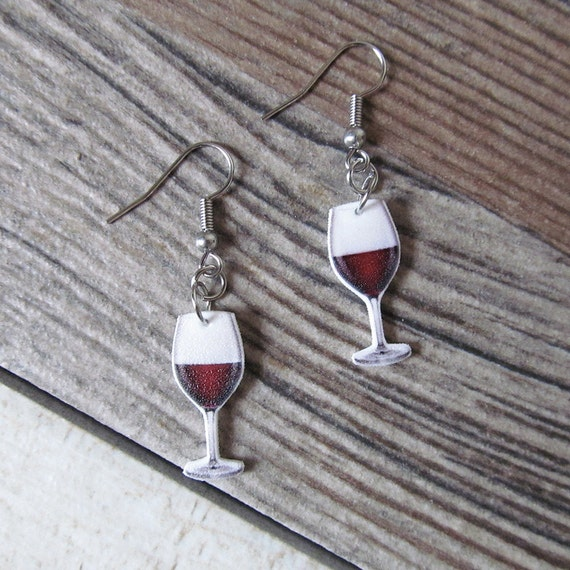 Red wine earring,  plastic, red, white, stainless hook, handmade, les perles rares