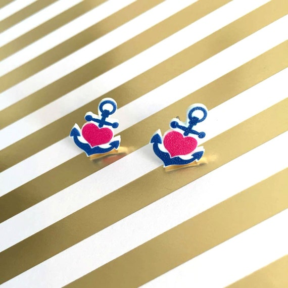 Small, ancre, navy, heart, classic, pink, blue, earrings, plastic, stainless stud, handmade, les perles rares