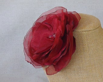 Flower Brooch in Dark Red Satin & Organza