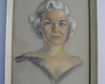 Original antique Royden Martin pastel portrait