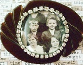 Bakelite Buckle with Instant Ancestors, One of a Kind, Vintage with Children and Vintage Rhinestones, Assemblage
