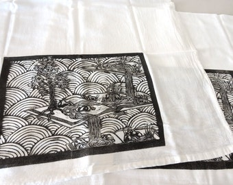 Tea Towel Block Print Pop Up Book