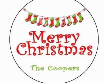 Stocking Christmas Sticker 2inch Round personalized