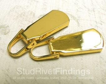 2pcs ZINC gold Genuine Leather Zip Puller Fastener Slider For No.5 Zip head