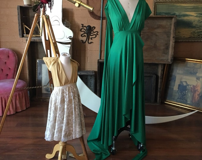Jewel-Toned Cambria Pines Emerald TULIP HEM CUT Infinity Wrap Gown- Converts to Strapless, Backless, Grecian~ All Sizes