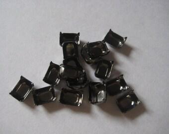 8x6 octagon gunmetal no ring closed back prong settings Qty 65