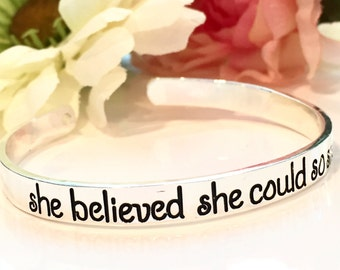 She belived she could so she did hand stamped bracelet-inspirational bracelet gift-cancer awareness gift