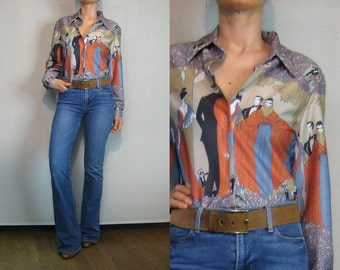 70s ART DECO Blouse Vintage NOVELTY Blouse Lady Print Blouse Tree Print Blouse 1970s Disco Blouse