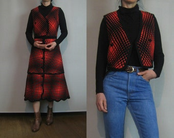 Vintage 70s WOVEN THICK WOOL Plaid Cherry Red Black Button Down Blanket Skirt Vest Top Matching Set Small 1970s