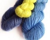 Stripey Socks - Kit of three colours anddyed fingering weight sock yarn wool nylon