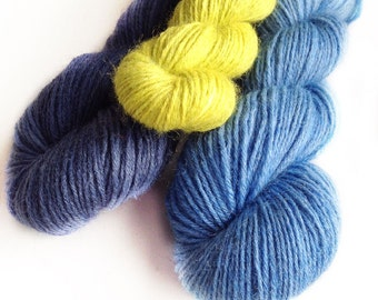 Stripey Socks - Kit of three colours handdyed fingering weight sock yarn wool nylon