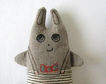 Mr. elegant bunny with red bow tie - linen home decor item - little textile sculpture
