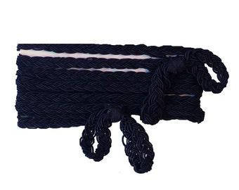"""9mm Victorian Black Gimp Braid, 3/8"""" Weighted Silk Specialty Trim"""