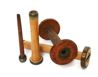 Vintage Bobbin Spools (c.1920s) Textile Spindles for Home or Sewing Decor and a Perfect Assortment of Industrial Bobbins for a Collector