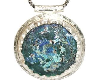 Winter Sale Stunning Hand Made 925 Silver Rare  Roman Glass Pendant  Necklace