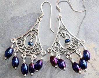 Blue and Purple Chandelier Earrings, Dangly Earrings, Filigree Earrings, Blue Earrings, Hematite Earrings, Purple Earrings, Handmade Earring