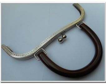 26cm silver sewing large purse frame  with wooded purse handle (purse making supplies) purse supplies