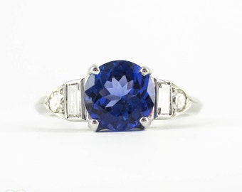 Tanzanite & Diamond Engagement Ring, Vintage Art Deco Baguette Diamond and Platinum Setting with 0.92 ct Tanzanite.
