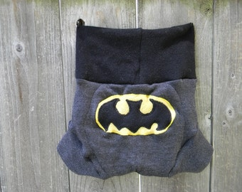 Upcycled Merino Wool Soaker Cover Diaper Cover With Added Doubler Black /Charcoal Gray  With Batman Applique LARGE 12-24M Kidsgogreen