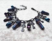 The Goddess Hekate - Hekate's Keys Original Charm Bracelet with Titanium Quartz Points, Vintaj Arte Metal, Czech glass