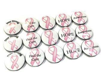 "Breast Cancer Awareness 1"" Buttons, Cancer Awareness, Breast Cancer Buttons, Breast Cancer Pins, Breast Cancer Pinbacks, Cancer Awareness"