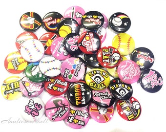 """Softball, 1"""" Button, Softball Pin, Softball Pinback, Softball Flatback, Softball Embellishment, Softball Party Favor, Softball Theme, Badge"""