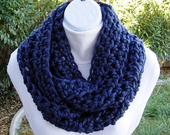 Dark Solid Navy Blue INFINITY SCARF Loop Cowl, Soft Bulky Chunky Acrylic, Thick Crochet Knit Winter Circle Scarf..Ready to Ship in 2 Days