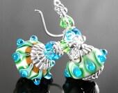 Green Blue Earrings Sterling Silver Earrings Artisan Lampwork Earrings Green Blue Glass Earrings Dangle Drop Earrings Handmade Jewelry