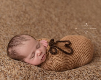 Camel Brown Swaddle Sack Newborn Baby Photography Prop