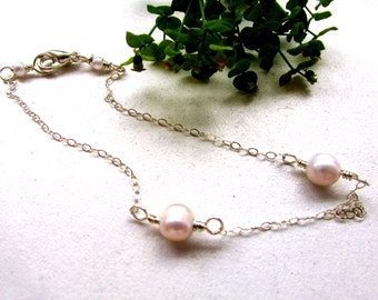 White freshwater pearls ankle bracelet, 8.5 inches long