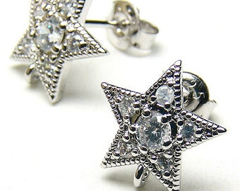 SI-069-OR / 2 Pcs - CZ Star Stud Earrings, Silver Plated over Brass Body with .925 Sterling Silver Post / 11mm x 11mm