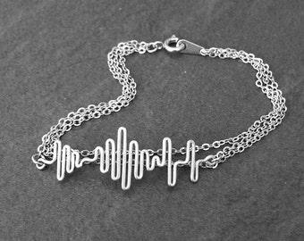 Multi Strand Soundwave Bracelet - Personalized Sound Wave Bracelet, Sound Wave Jewelry, Layered Bracelet