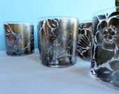 Vintage Georges Briard Rocks Glasses - Platinum  Floral Pattern - Rocks Glasses - Barware