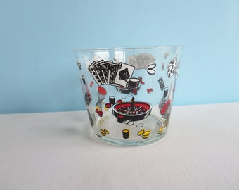 Vintage Glass Ice Bucket - Card Game Theme - Dice - Roulette - Poker