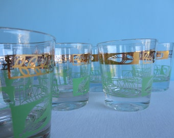 Vintage Glasses - Green and Gold Short Glasses - Barware - Set of 8