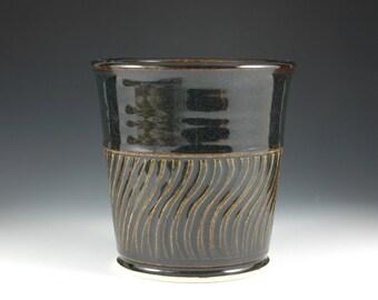 Black Ceramic Utensil Holder, Utility Pottery