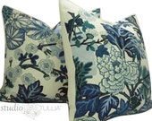 Schumacher Pillow Covers - Chiang Mai Dragon in China Blue - TWO - Decorative pillow Covers - 20 inch  - Schumacher - China Blue