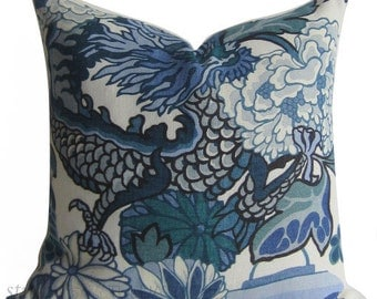 Schumacher Pillow Cover - Chiang Mai Dragon - Decorative pillow Cover - 20 inch  - Schumacher - China Blue - made to order
