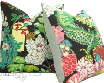 Chiang Mai Dragon - Ebony - 20 inch - TWO - Decorative pillow Covers - Schumacher Pillow Cover - botanical - ready to ship