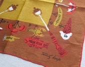 Vintage Tammis Keefe Handkerchief, 1950s Cotton Hankie - Autumn Fall Colors Shop Signs - Orange Brown - Proper Lady Designer Accessory