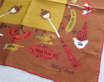 Vintage Tammis Keefe Handkerchief, 1950s Cotton Hankie - Autumn Fall Colors Shop Signs - Orange Brown - Proper Lady Designer Accessory