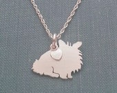Bunny Rabbit Necklace, Sterling Silver Personalize Pendant, Lionhead Silhouette Charm, Resue Shelter