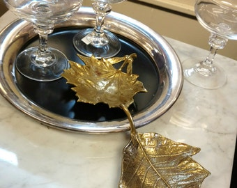 Vintage Brass Leaf Dishes/ Marked 1948