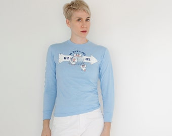 Vintage 80's PHI BETA PI long sleeved t-shirt, baby blue, cute angels, '82 / '83, sky blue, 50/50 poly cotton - xs / small