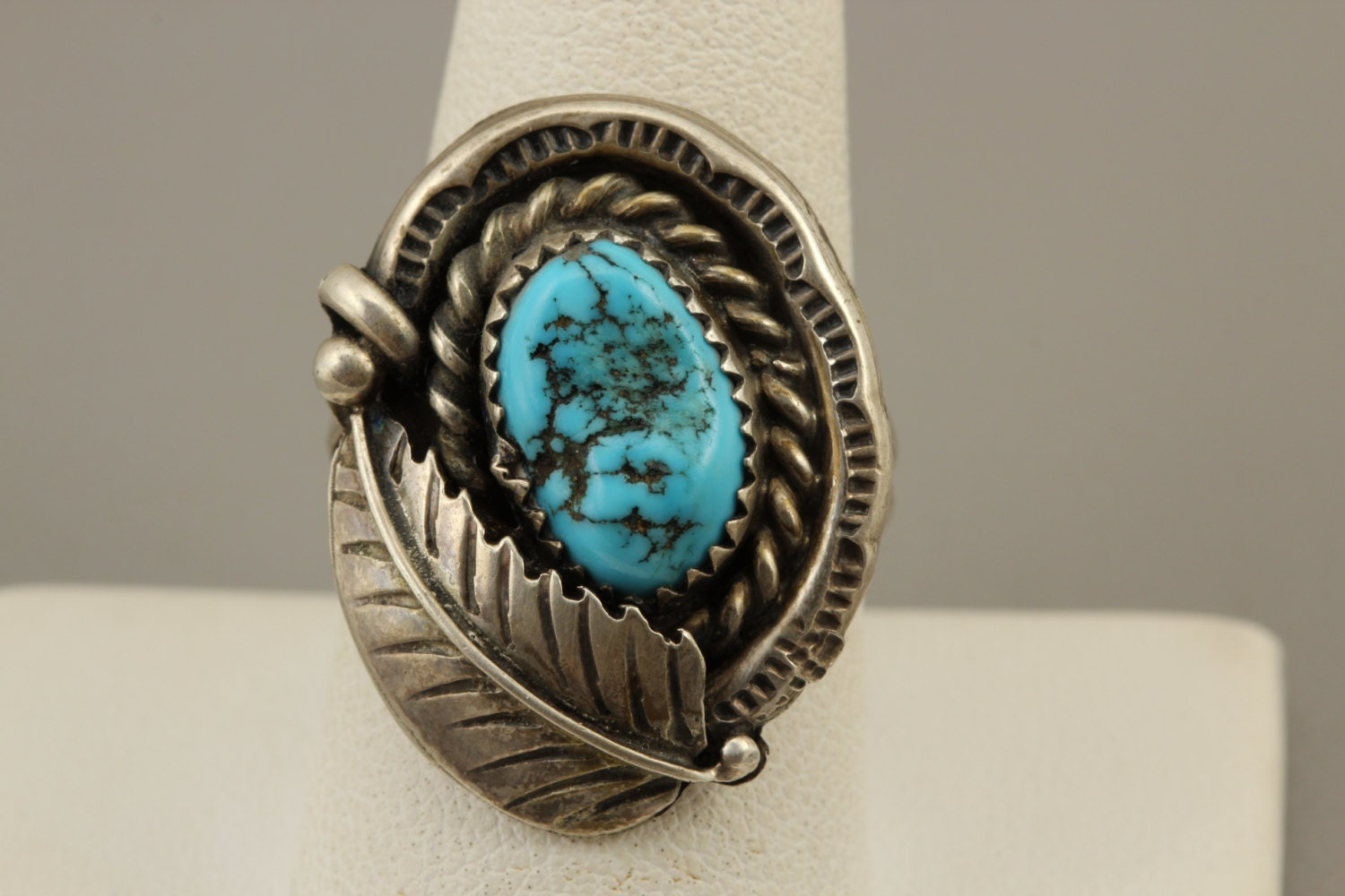 Navajo Turquoise Silver Ring Signed Sterling Silver Turquoise