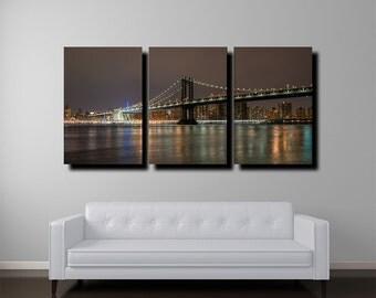 "New York Skyline Canvas, 24""x48"", Manhattan Bridge, New York Art, Fine Art"