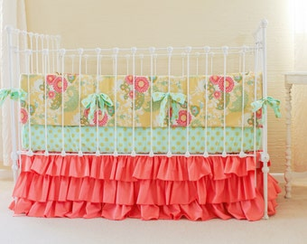 Custom Coral Buttercup Twin Bedding Set