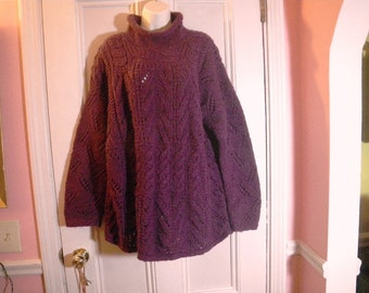 Long Chunky Purple Wool Sweater Womens Large Nepal Hand Knit